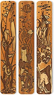 product image for Seafloor - Seahorse - Octopus - Fish Engraved Set of 3 Wooden Bookmarks