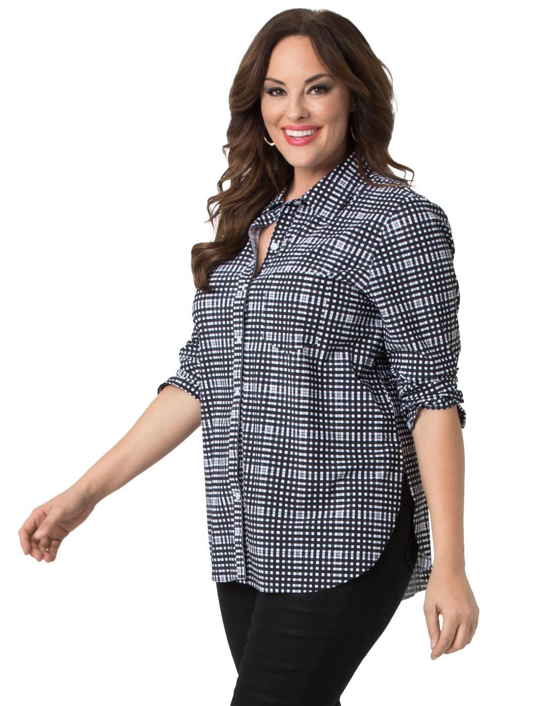 Kiyonna Clothing Women's Plus Size Schiffer Button Down by Lyssé 3X Check Print
