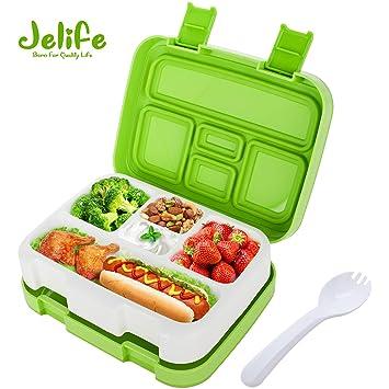 Jelife Fiambrera para Niños Lunchbox con 5 Compartimentos Caja Bento de Almuerzo y Merienda con Cuchara Fiambrera Infantil para Peques Colegio ...