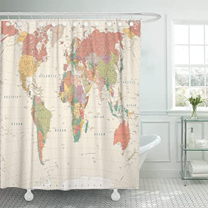 Amazon emvency fabric shower curtain curtains with hooks beige emvency fabric shower curtain curtains with hooks beige africa vintage world map large detailed blue asia gumiabroncs Images