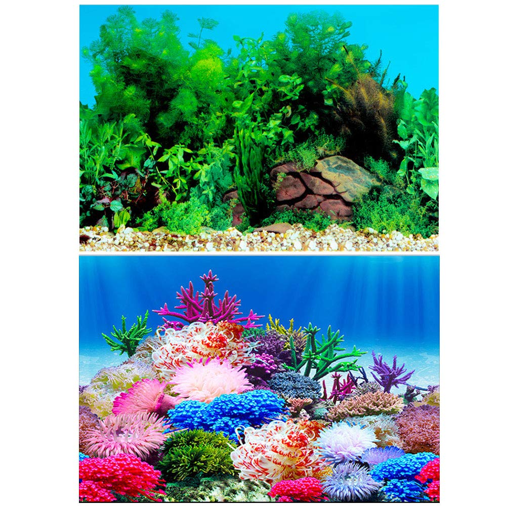 Amakunft 19.7' H x 24.4' W Aquarium Background Sticker, Double Sides Wallpaper Fish Tank Backdrop Water Plants & Coral Reef Poster HL