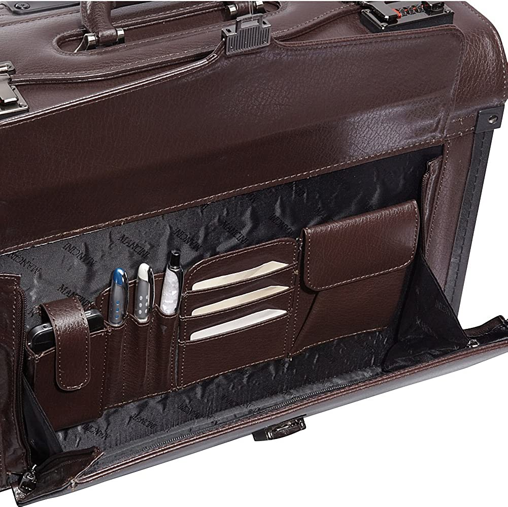 Mancini Deluxe Wheeled Catalog Case Leather Rolling Business Case