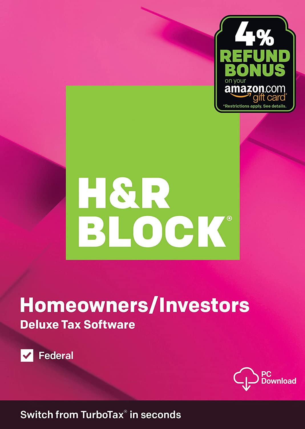 H&R Block Tax Software Deluxe 2019 [Federal Only] with 4% Refund Bonus Offer [Amazon Exclusive] [PC Download]