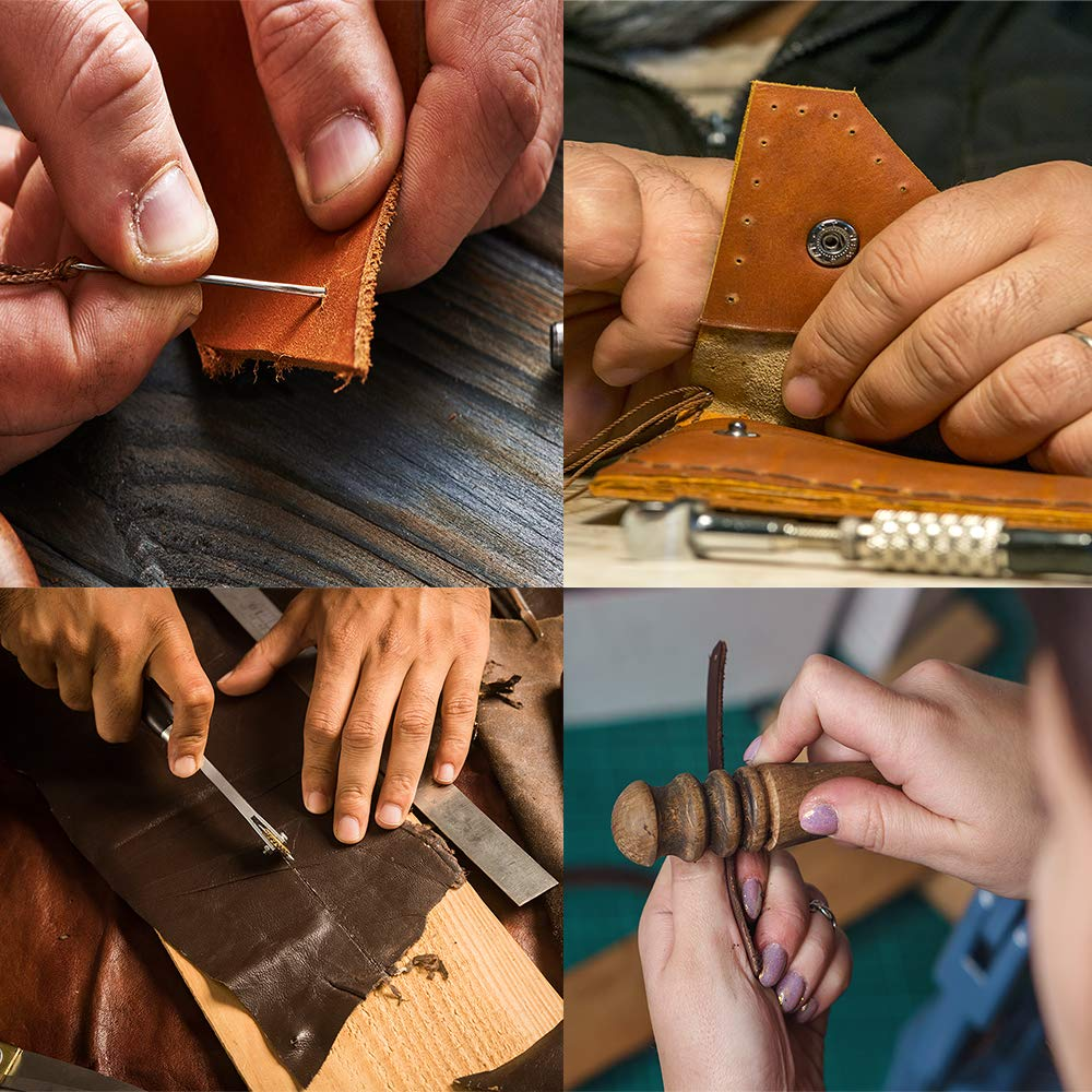 Dorhui 372 Pieces Leather Crafting Tools,Leather Tools Leather Working Tools and Supplies, Leather Craft Stamping Tool, Prong Punch, Hole Hollow Punch, Matting Cut for DIY Leather Artworks by Dorhui (Image #9)