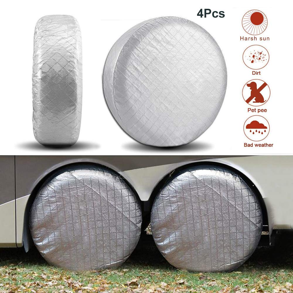 Camper Trailer RV Wheel Covers Snow protection Sunscreen Waterproof Aluminum Film Tire Truck for 26.75-28 Diameter Jeep VVHOOY 4 Pcs Car Tire Covers SUV Silver