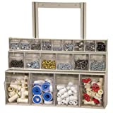 Akro-Mils 06704 TiltView Horizontal Plastic Storage System with Four Tilt Out Bins , 23-5/8-Inch Wide by 8-3/16-Inch High by 6-3/4-Inch Deep, Stone
