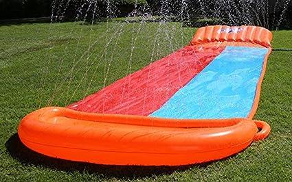 Inflatable Water Slide Triple Splash Backyard Kids Play Outdoor Pool Big Spit