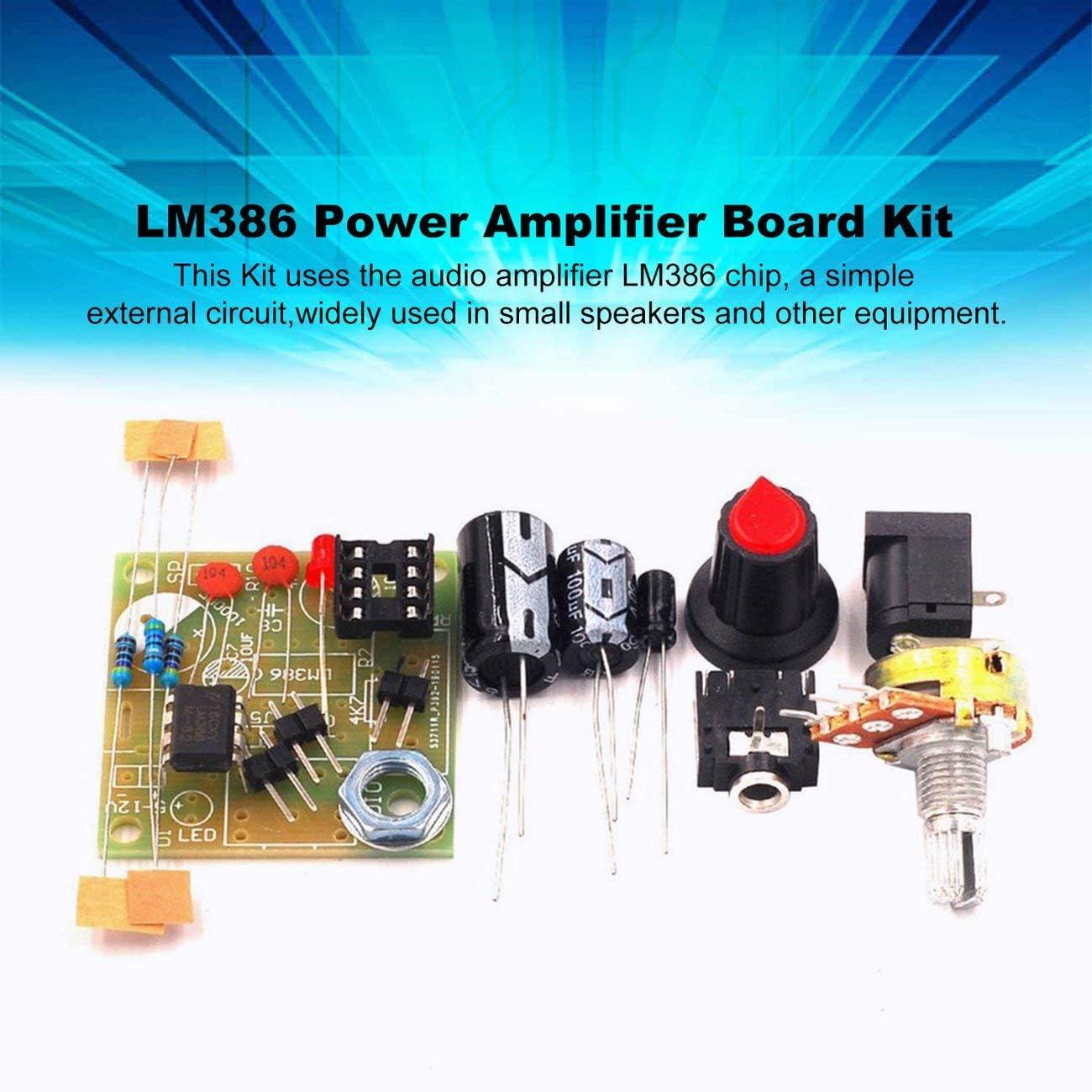 Azul y Azul fengzong LM386 Super Mini 3V-12V Kit de Traje de Amplificador de Potencia Kit de Bricolaje electr/ónico M/ódulo de amplificaci/ón de Audio Bajo Consumo