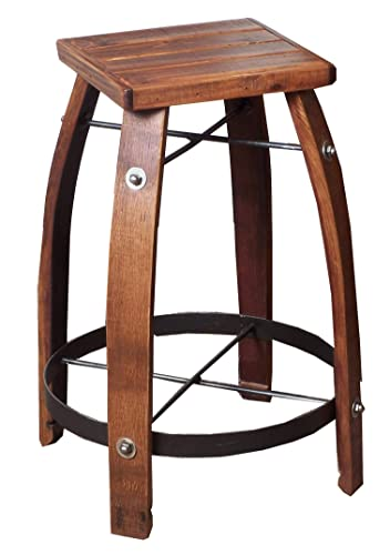 2-Day Designs Reclaimed 28-Inch Stave Wine Barrel Bar Stool with Wood Seat