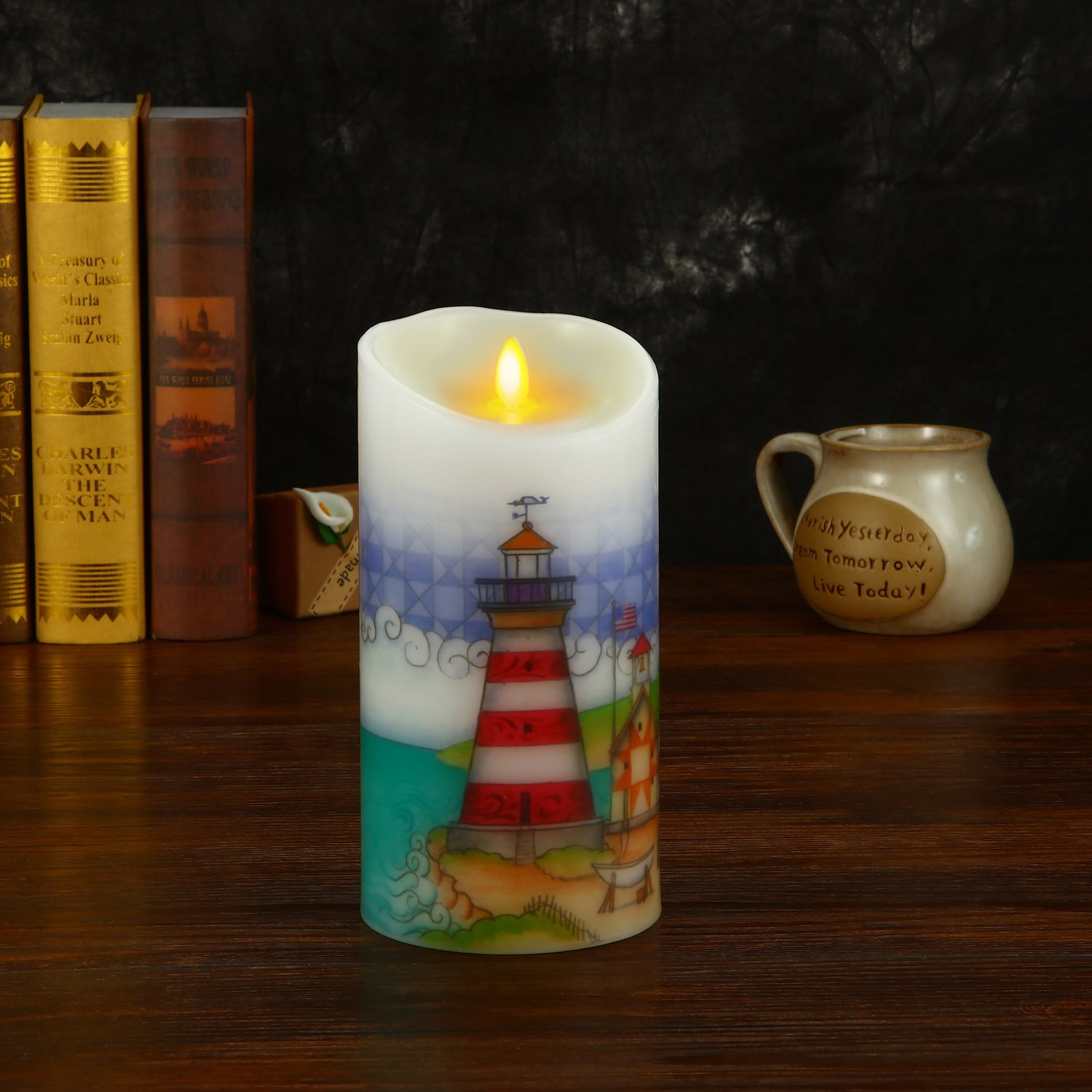 Ksperway Flameless Wax Candles, Moving Wick LED Pillar Candle with Blow ON/Off Control,Timer and Remote 3.5 by 7 Inch Picture (Lighthouse) by Ksperway (Image #5)