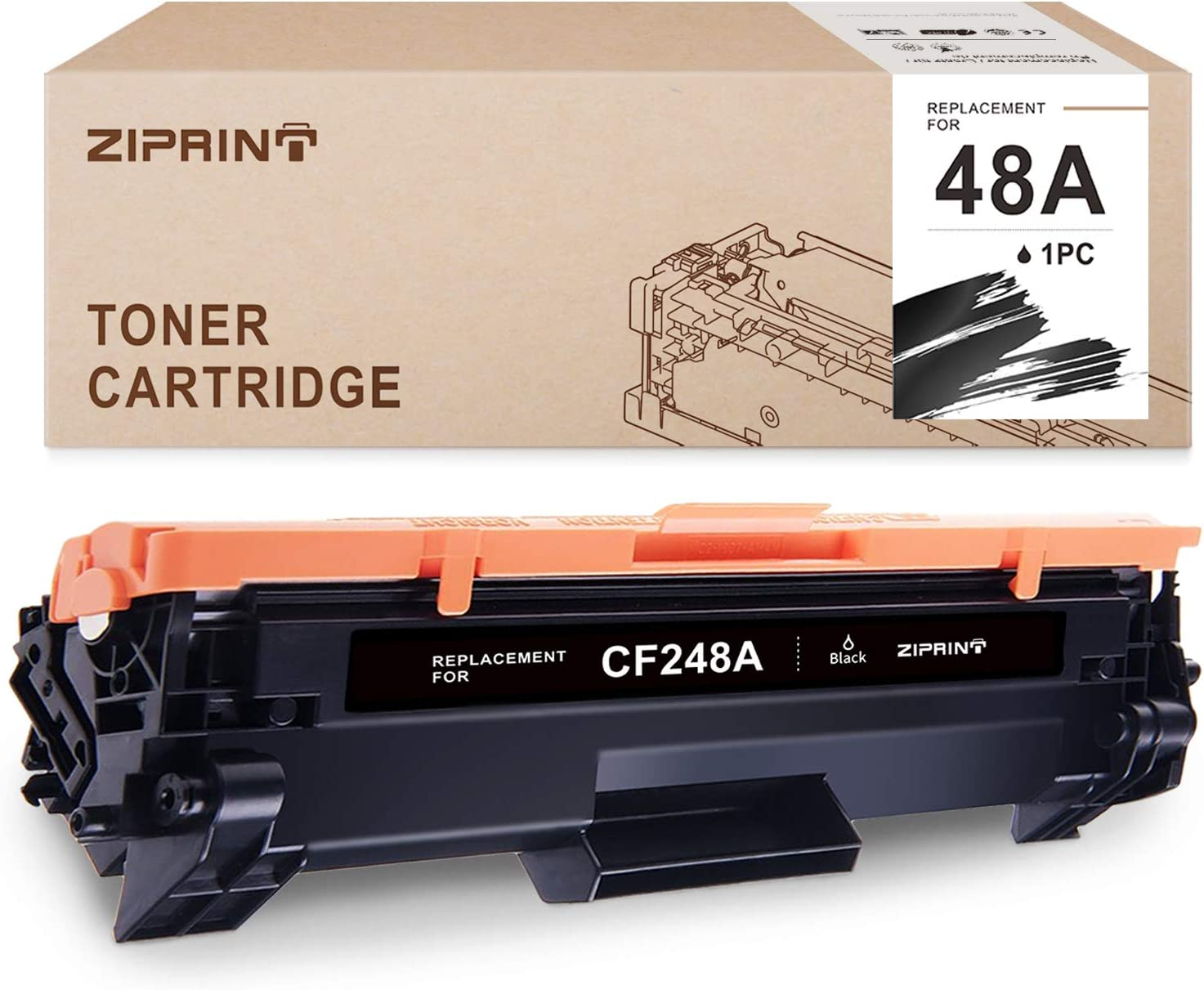 ZIPRINT Compatible Toner Cartridge Replacement for HP 48A CF248A for HP Laserjet Pro M16 M15 M31w HP Laserjet Pro MFP M28 M29 Prnter (Black, 1-Pack)