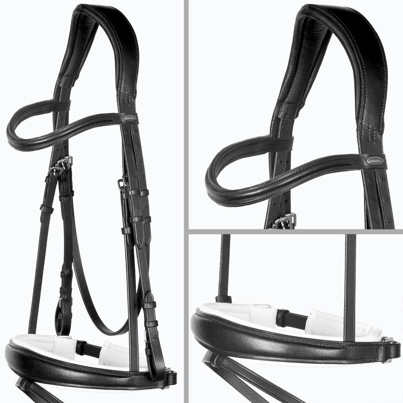 Vollbluet   Cob Heinick Equestrian Fine Classic Black and White   Performance Snaffle Bridle Conical Tapered Swedish RH