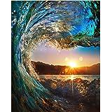 Dipinto ad olio di Diy dal kit numero, pittura Paintworks Sunset Wave Seascape Disegno con spazzole 16 * 20 pollici decorazioni natalizie decorazioni regali (senza cornice)