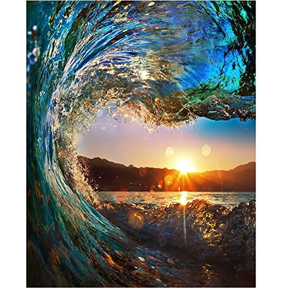 Diy Oil Paint by Number Kit,Painting Paintworks Sunset Wave Seascape Drawing with Brushes 16x20 inch Christmas Decor Decorations Gifts(Without Frame)