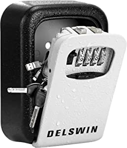 Wall Mounted Key Lock Box - Weatherproof Key Safe Box with 4-Digit Combination Key Storage Box for Home,Airbnb,Hotel,School,Office
