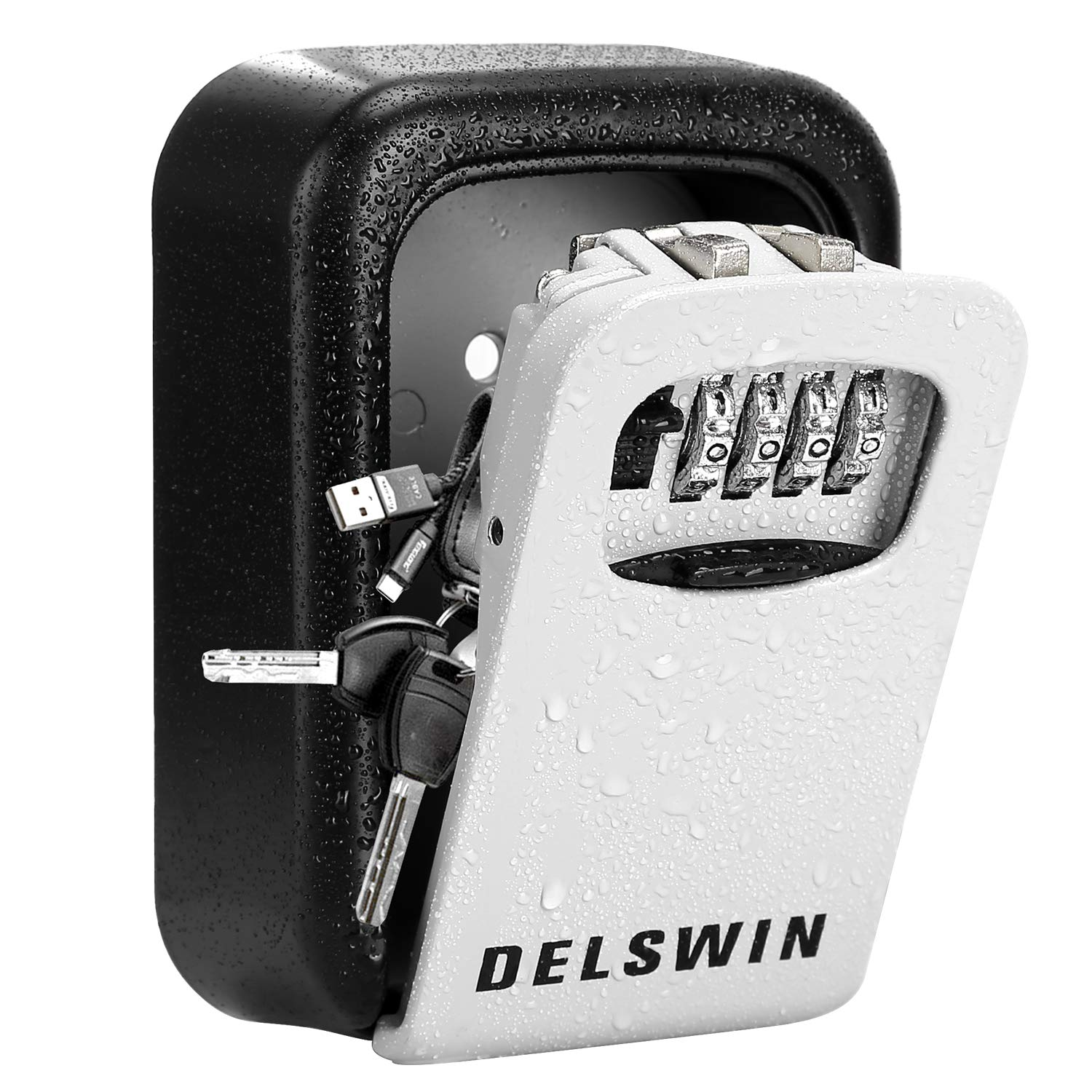 Wall Mounted Key Lock Box - Weatherproof Key Safe Box with 4-Digit Combination Key Storage Box for Home,Airbnb,Hotel,School,Office by DELSWIN
