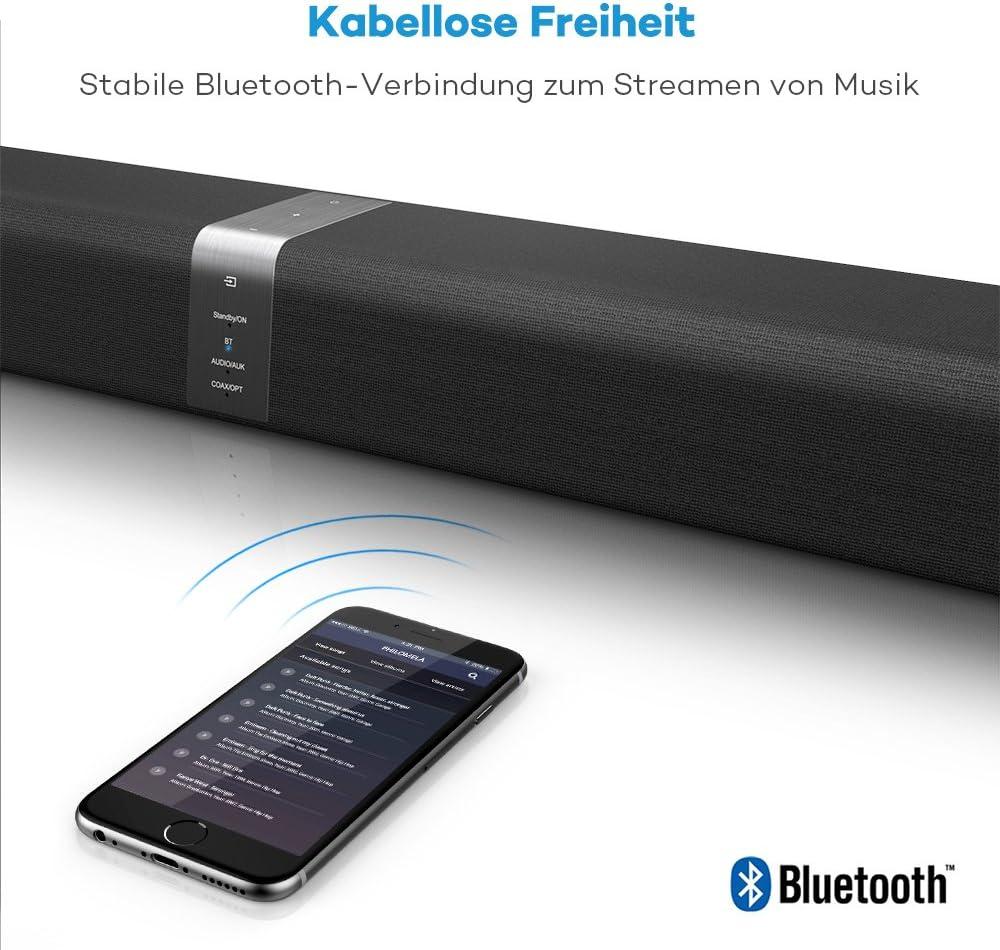 TaoTronics Bluetooth Soundbar 2 kabellose Subwoofer 40W Lautsprecher Doppelte Verbindungsm/öglichkeiten 2.0 Kanal Montierbar an W/änden mit Fernbedienung und Taststeuerung f/ür TVs