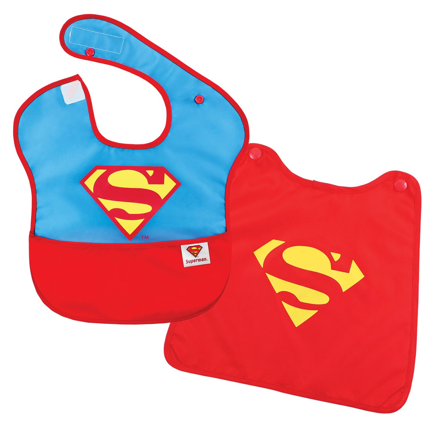 Bumkins DC Comics Superman SuperBib, Baby Bib, With Cape, Waterproof, Washable, Stain and Odor Resistant, 6-24 Months SCP-WBSM