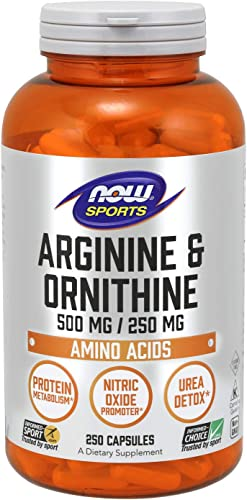 NOW Sports Nutrition, Arginine Ornithine 500 250 mg, Amino Acids, 250 Capsules