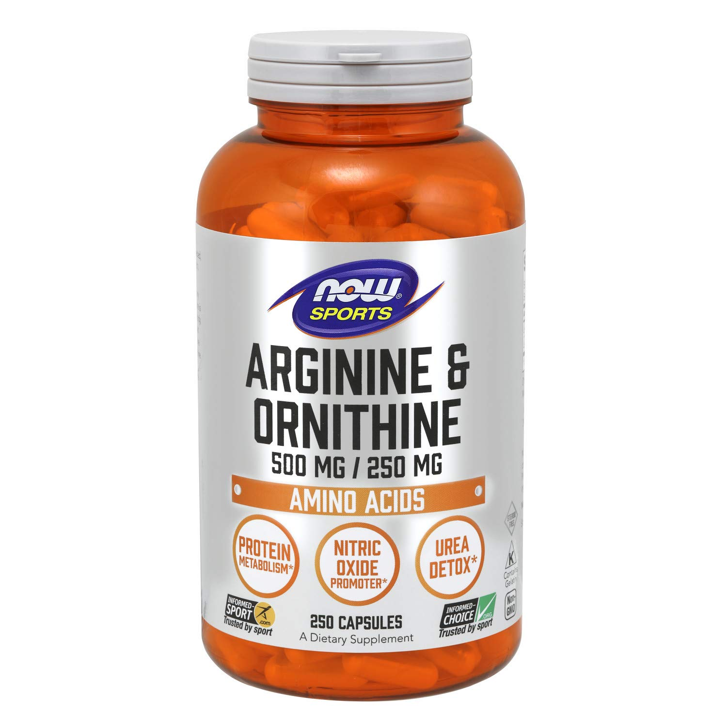 NOW Sports Nutrition, Arginine & Ornithine 500/250mg, 250 Capsules by NOW
