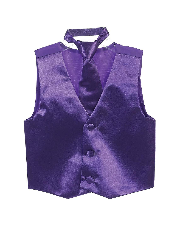 Purple Big Boys SatinVest and Pretied Zipper Necktie Set USA Multiple Colors Size 12