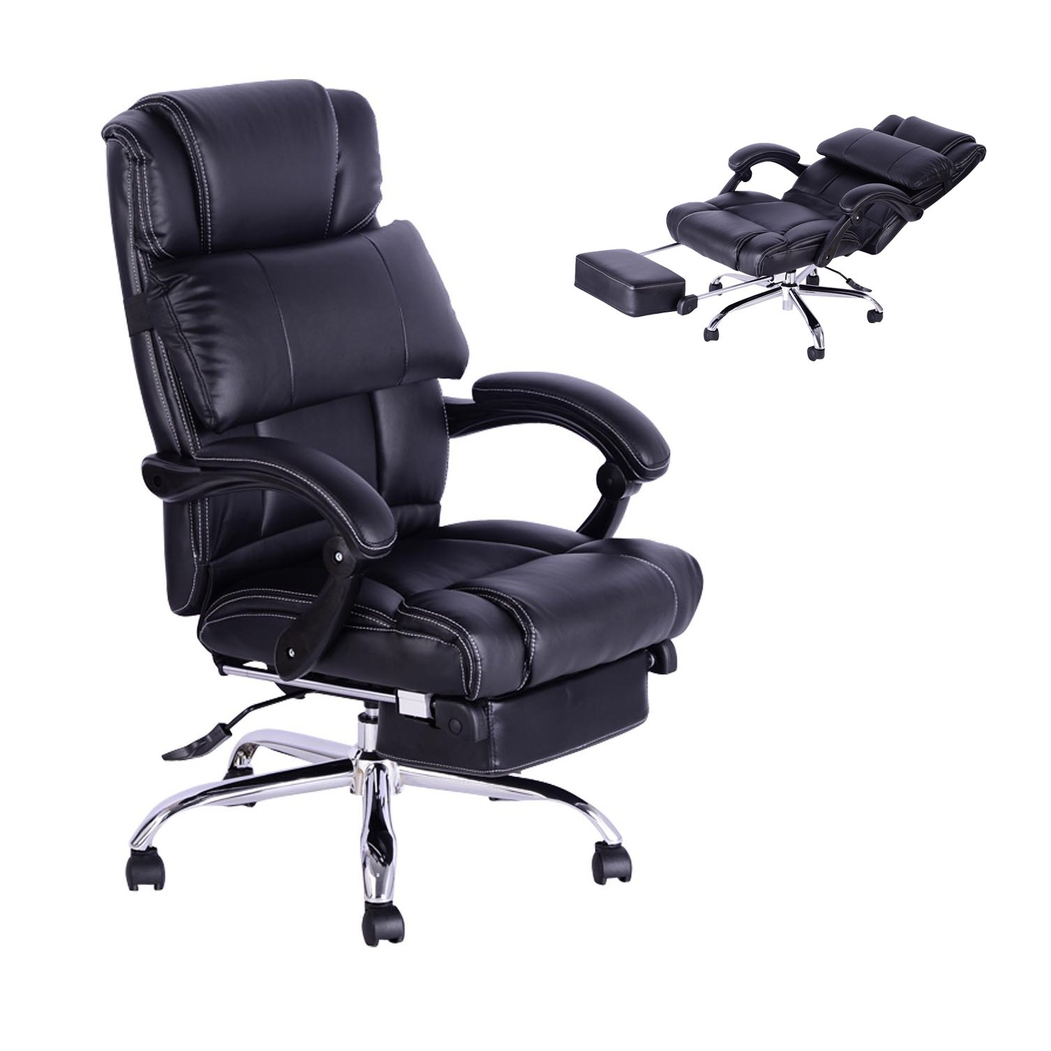 Homcom High Back Office Swivel Executive Leather Desk Chair Recliner Reclining Napping Armchair PC Computer Chair Height Adjustable Amazon.co.uk Office ...  sc 1 st  Amazon UK & Homcom High Back Office Swivel Executive Leather Desk Chair ... islam-shia.org