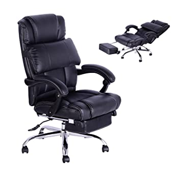 Awesome Homcom High Back Office Swivel Executive Leather Desk Chair Recliner  Reclining Napping Armchair PC Computer Chair