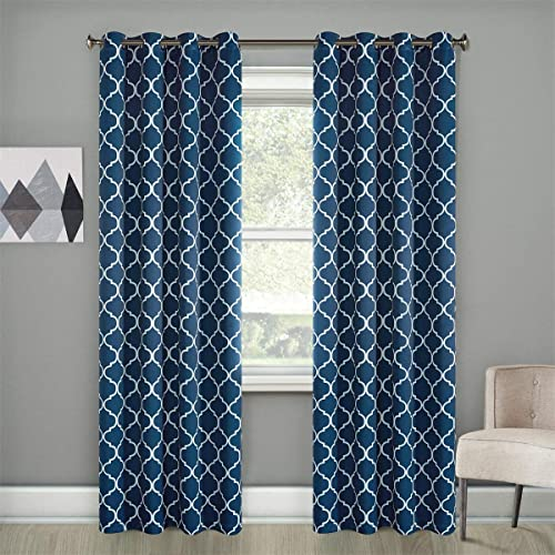 Dreaming Casa Navy Blue Blackout Curtains White Moroccan Draperies Thermal Insulated Grommet Top Two Panels 72''W x 108''L