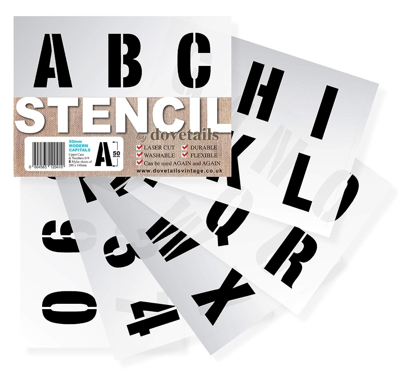 DOVETAILS 文字ステンシル アルファベット数字 大 1.96インチ (5cm) 高 モダン キャピタル 8 x 5.75インチ 6シート B07C7DWTRR