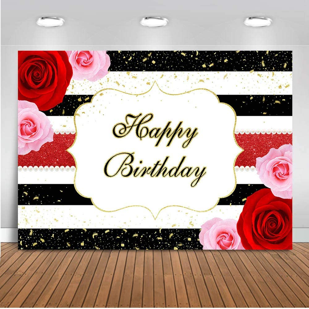 Mocsicka Pink and Red Rose Happy Birthday Backdrop 7x5ft Black White Stripe Woman's Birthday Banner Photography Background 30th 40th 50th 60th Birthday Photo Backdrops