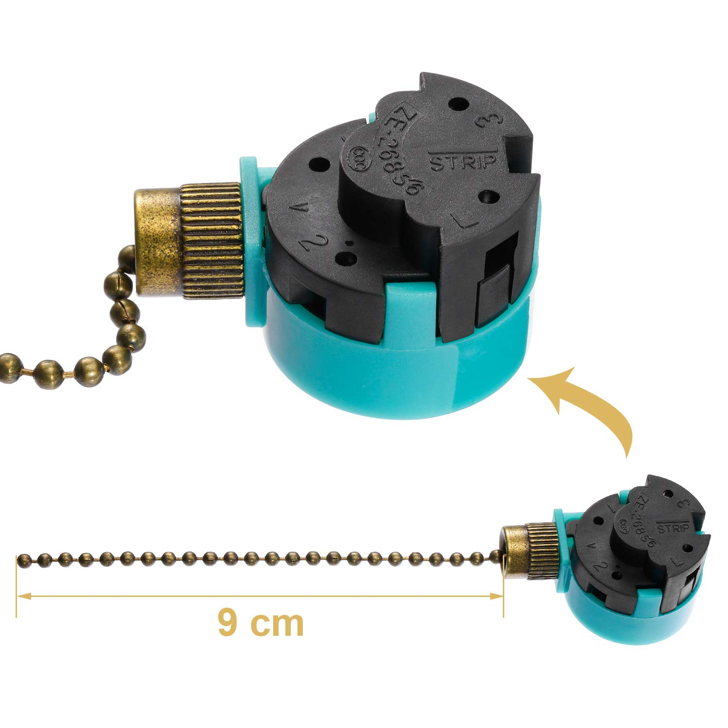 Jetec 2 Pack Ceiling Fan Switch 3 Speed ZE-268S6 and 10 Feet Beaded Pull Chain Extension with 10 Connectors for Ceiling Fans Lamps and Wall Lights Brass Pull Chain
