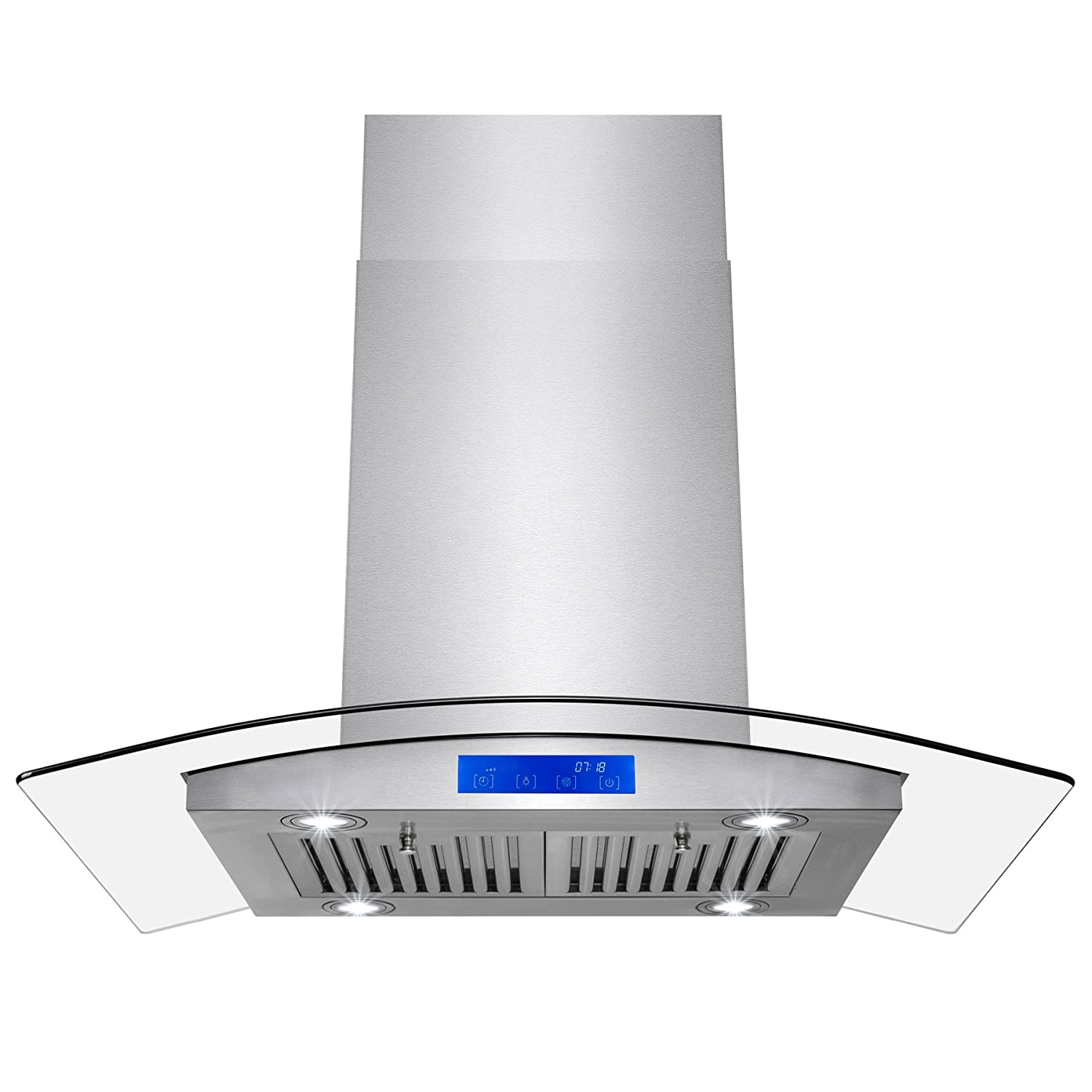 """AKDY 36"""" European Style Stainless Steel Island Mount Range Hood Touch Control W/Baffle Filters"""