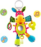 OKIKI Donkey Plush Infant Toy, Baby Development Toys w/ Musical Box (No Batteries Required), Squeaky Feet, Kids Mirror & BPA Free Teether | Colorful Stroller, Crib, Carseat Toys | Calms Baby Down