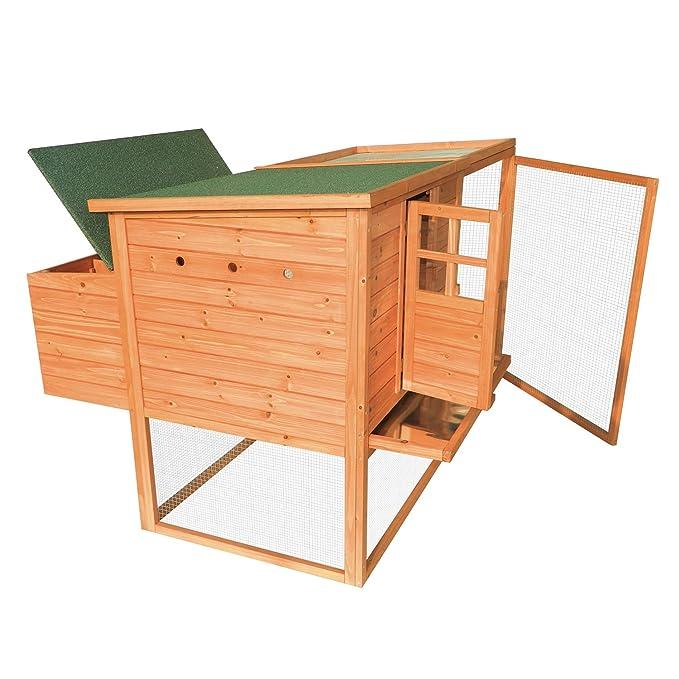 Nueva mtn-g gallinero madera Ave Nido cabaña Run, diseño de gallina, Deluxe - patio: Amazon.es: Jardín