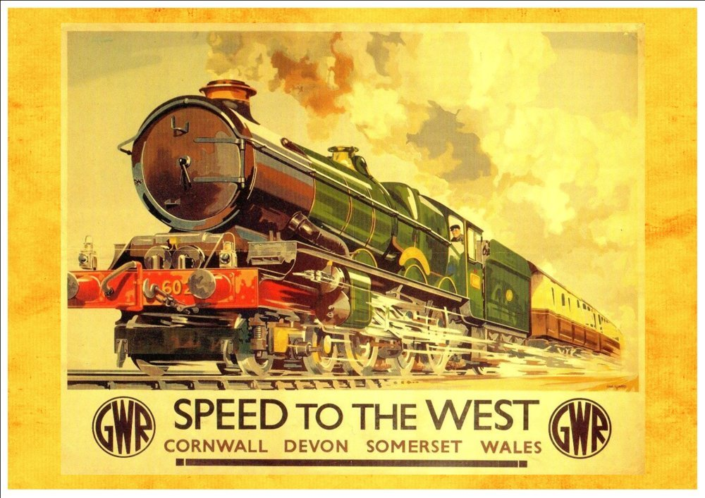 VINTAGE WALES GWR RAILWAY A4 POSTER PRINT
