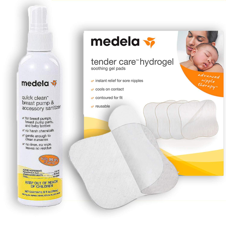Medela Breastfeeding Bundle: Quick Clean Spray (8 fl Oz) & Soothing Gel Pads for (4 Count Pack) by Medela