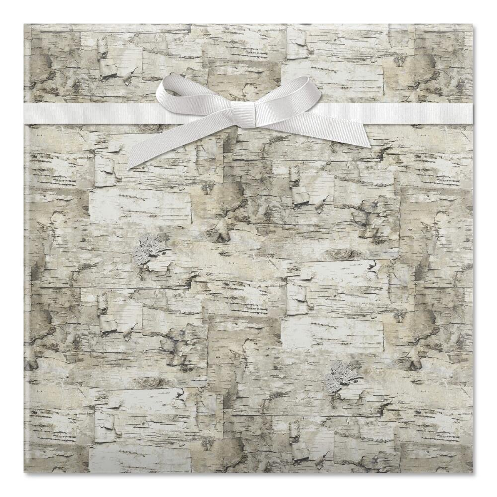 Birch Jumbo Rolled Gift Wrap -67 sq. ft. heavyweight, tear-resistant and peek-proof wrap, Christmas wrapping paper, Natural-look bark wrapping paper, Christmas gift wrap