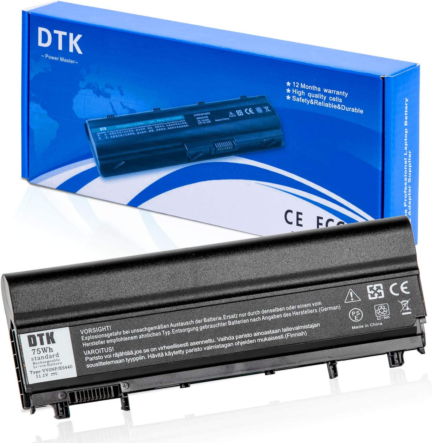 DTK 0M7T5F N5YH9 VV0NF New Laptop Battery Replacement for DELL Latitude E5440 E5540 Notebook 9-Cell 11.1V 6600MAH