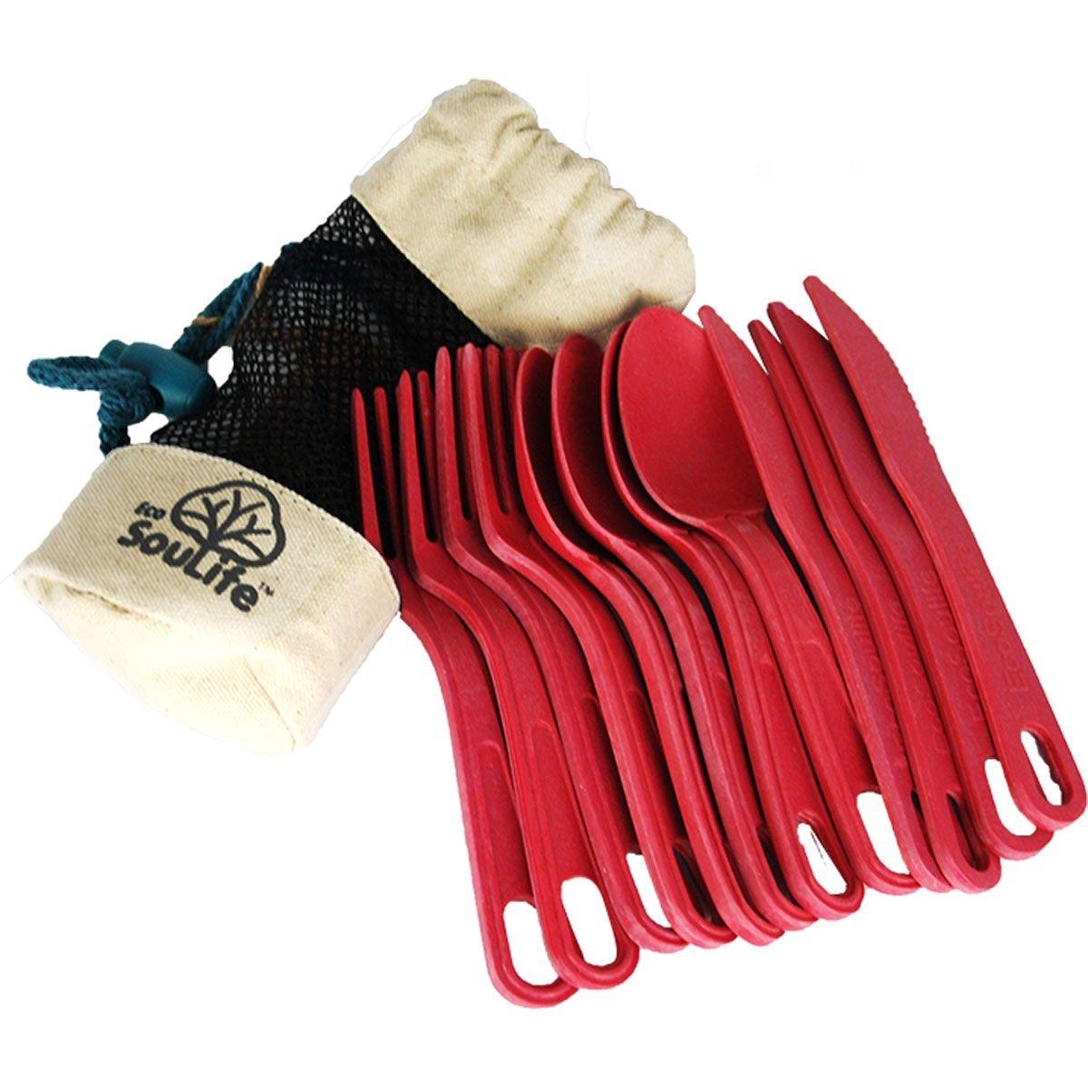Ecosoulife Campinggeschirr Besteckset 12-teilig mit Tasche 14794