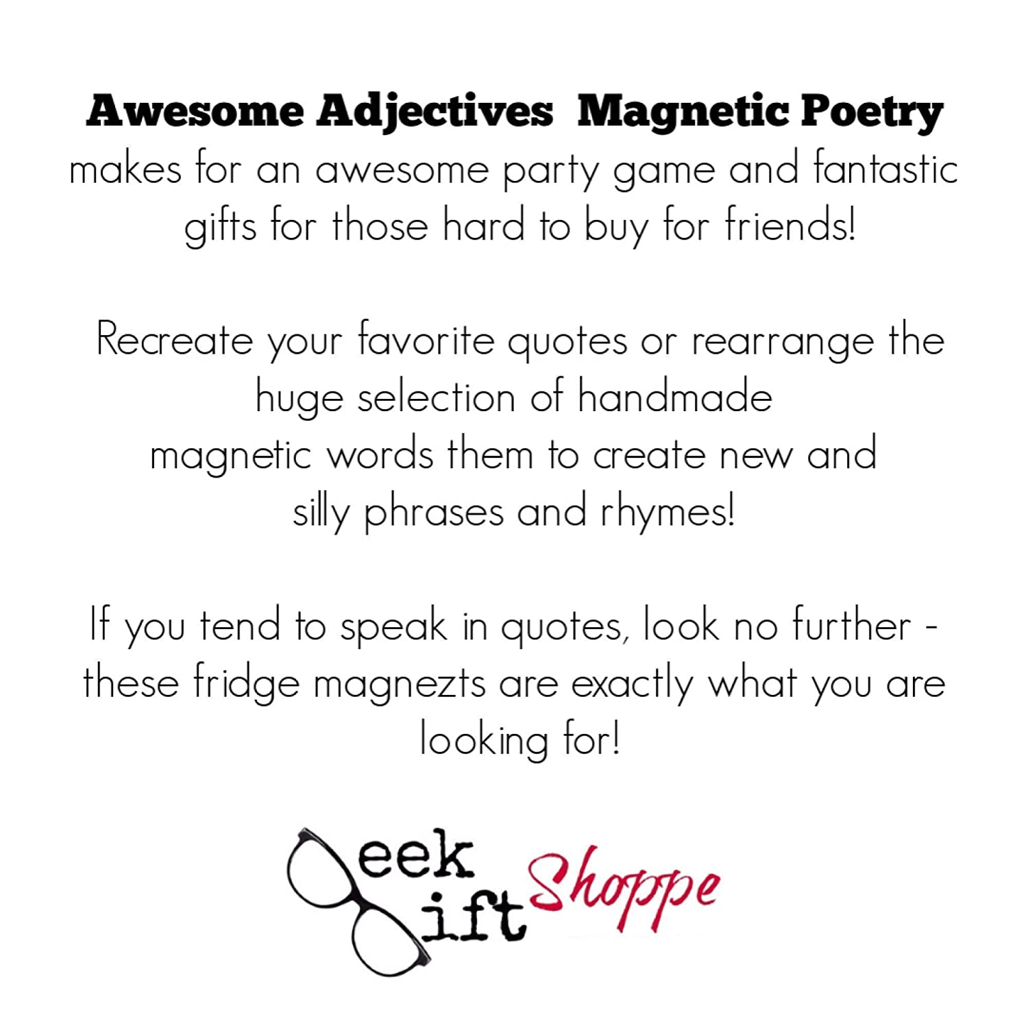 Awesome Adjectives Poetry Magnets//Refrigerator Magnets//Writer Poet Teacher Student Gift//Magnetic Words//Educational//Back to School