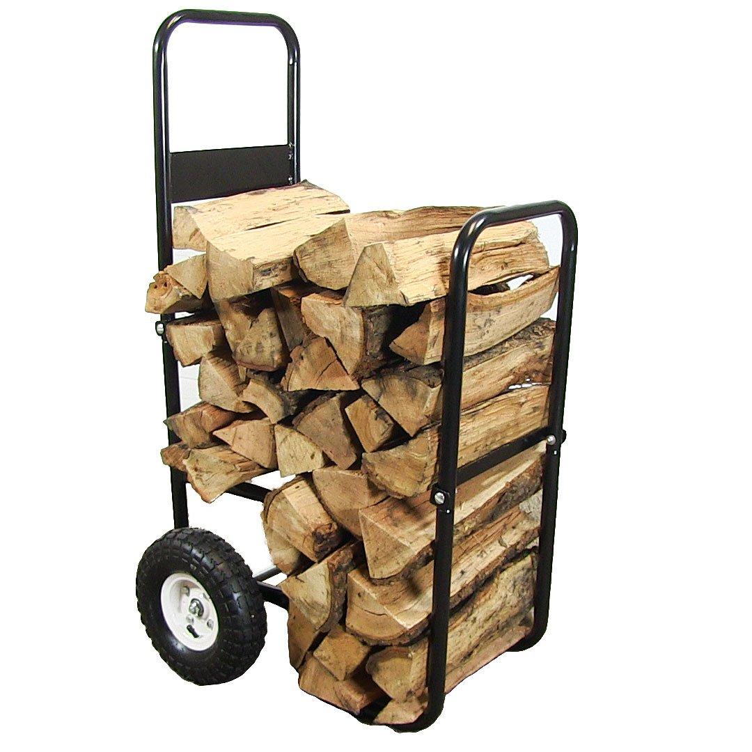 Sunnydaze Firewood Log Cart Carrier, Outdoor or Indoor Wood Rack Storage Mover, Rolling Dolly Hauler by Sunnydaze Decor