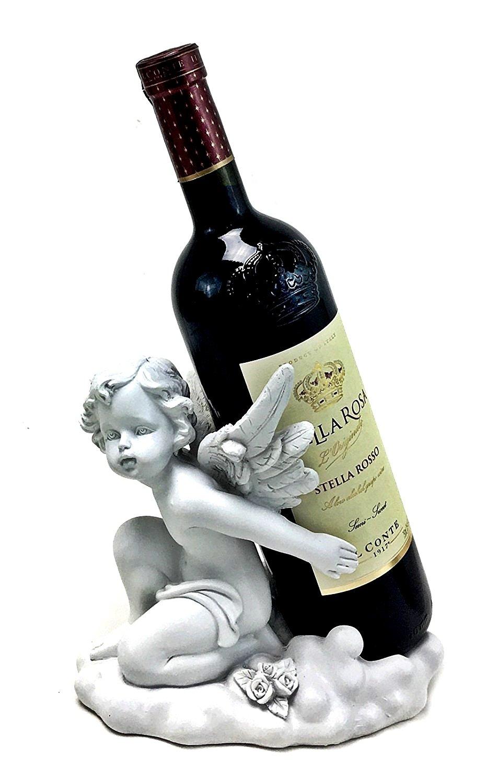 Bellaa 29899 Wine Bottle Holder Angel Wing Beautiful Cupid Baby Kneeling Loves Child Statues and Figurines