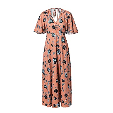 TheUniqueHouse Lace up Backless Floral Print Dresses Boho Beach Flare Short Sleeve Maxi Long Vestidos,