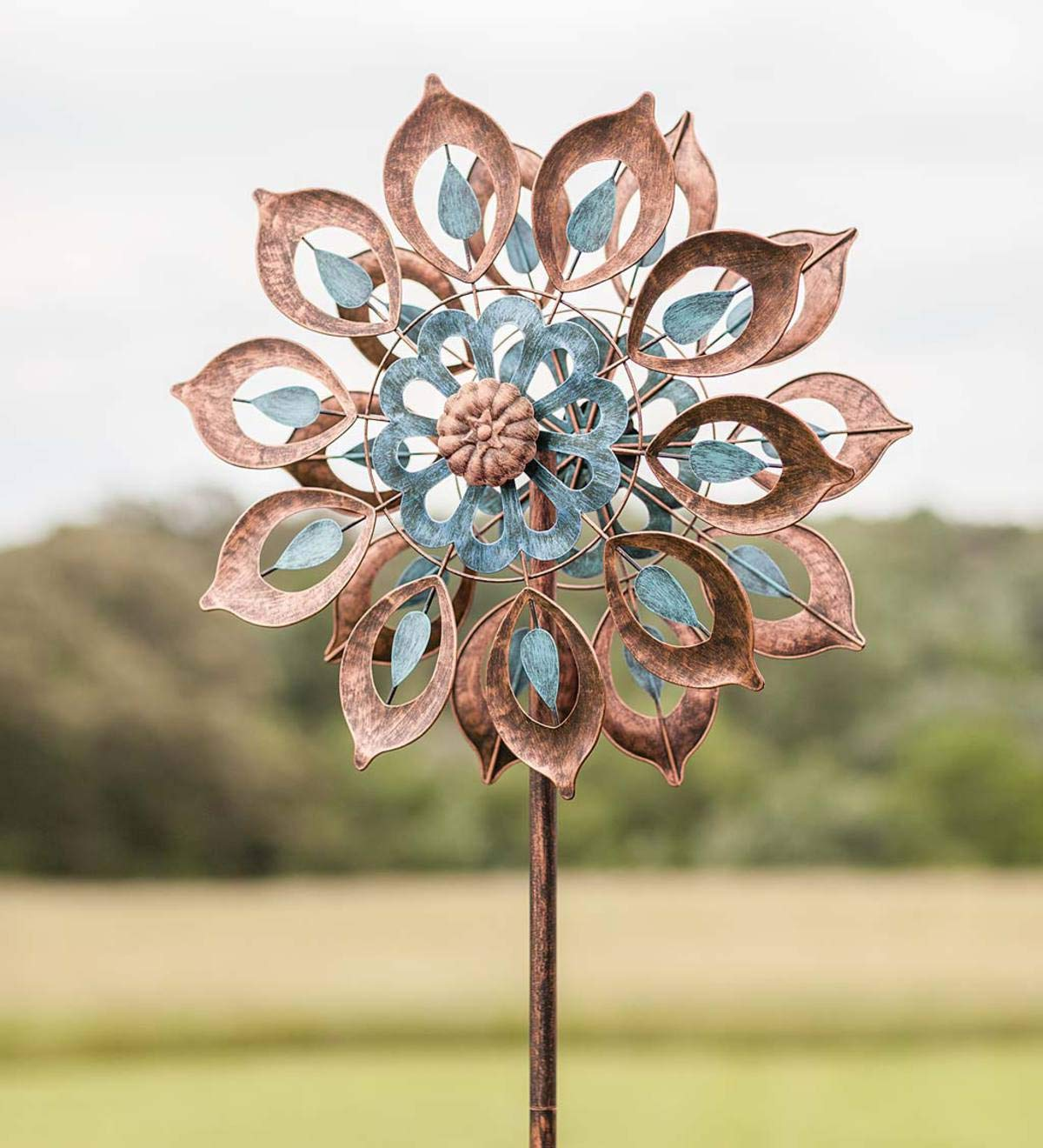 Plow & Hearth Copper Lily Wind Spinner - 24 Dia. x 10.25 D x 75 H by Plow & Hearth