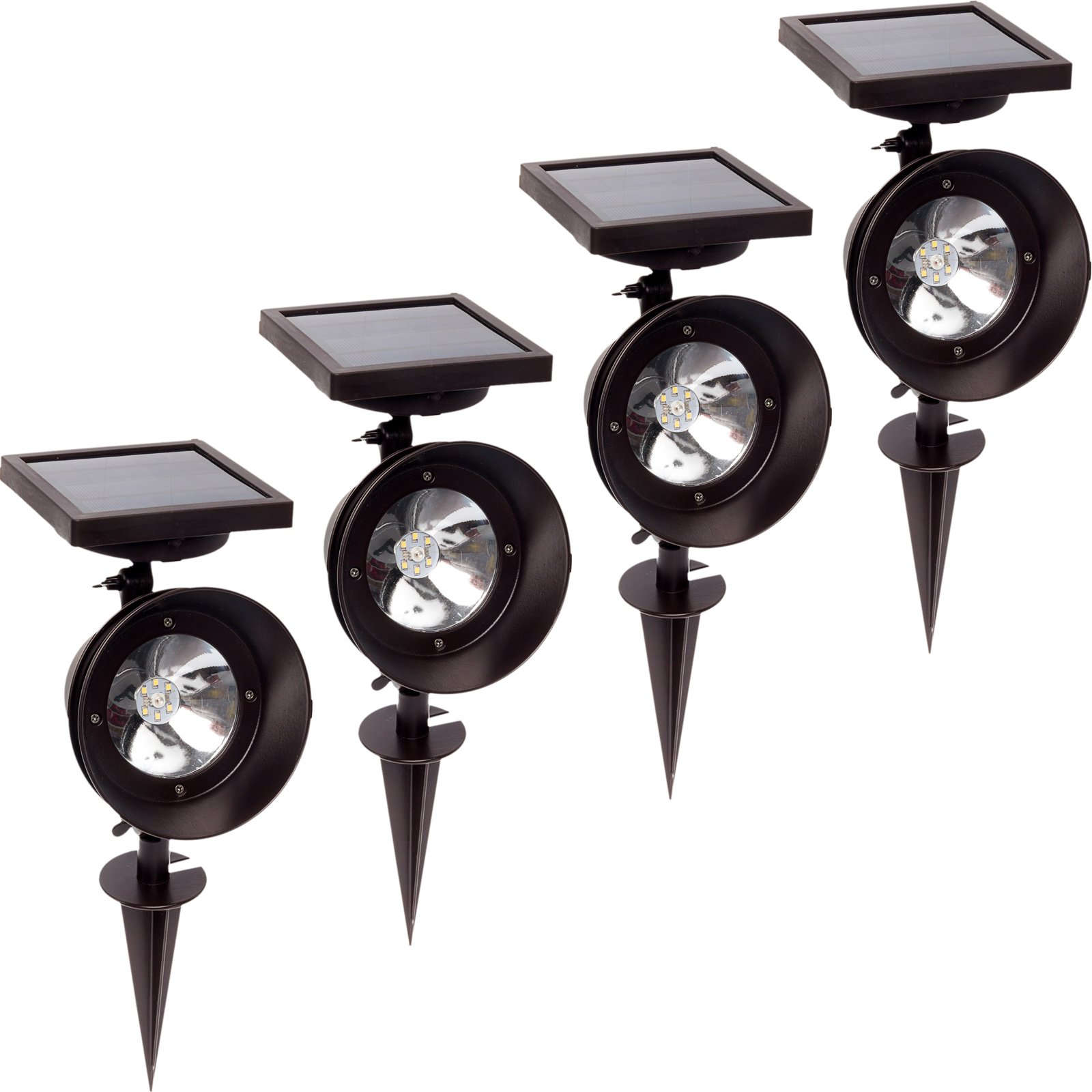 4 Pack GreenLighting Super Bright Triple Function Solar Spotlight (Bronze)