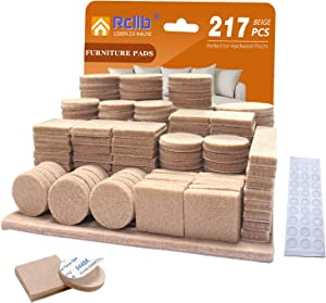Felt Pads,217 Pieces Felt Furniture Pads(5mm Thick)Anti Scratch Wood Floor Protectors Stronger Self Adhesive Felt Pads with 30 Cabinet Door Bumpers for Furniture Chair Legs Feet Hardwood Floor(Beige)
