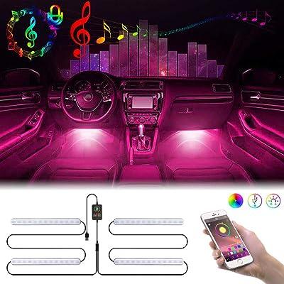 Car Led Strip Lights, Gubay Car Interior Lights Bluetooth App Controller Multi DIY Color Music Under Dash Car Lighting Kits with Sound Active Timer Function for Car, Home (48 LED, USB Charger): Automotive