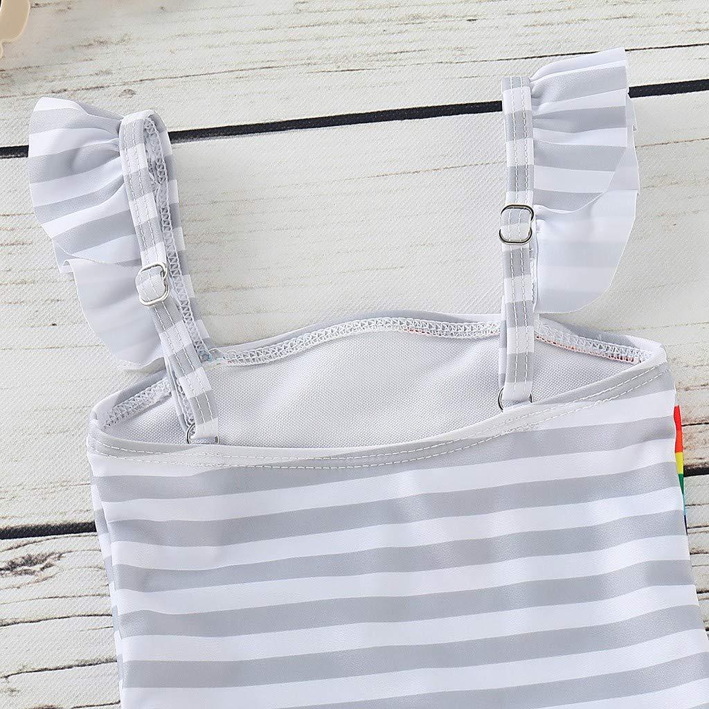 Culater 2019 Bikini per Bambini Beach Strip Rainbow Print Costume da Bagno Intero con Nappa