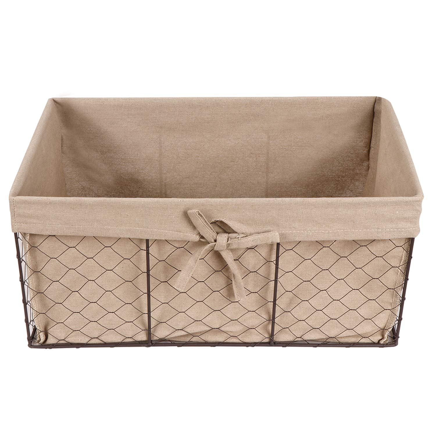 F2C Home Decor Set of 5 Vintage Toy Fruit Clothes Metal Chicken Wire Storage Basket Organizer W/Removable Fabric Liner for Bathroom Kitchen Office Nursery Laundry Bedroom Shelf by F2C (Image #3)