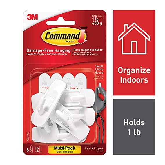 Command 17002 Vp 6 Pk Small Hooks With Strips Value Pack   White, Pack Of 1 by Command